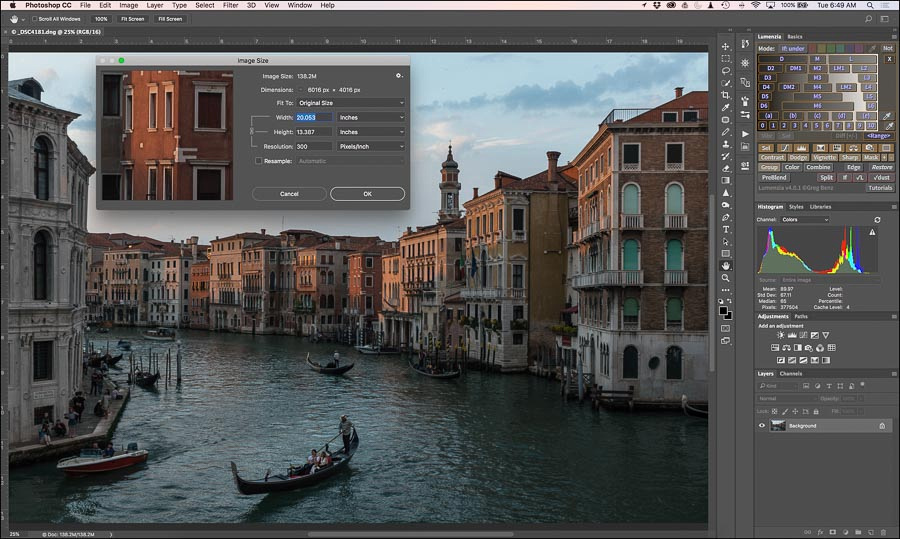 Photoshop screen grab showing resolution.